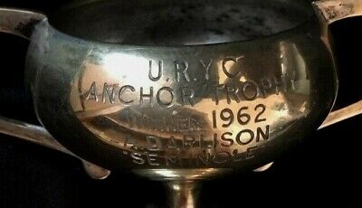 1962 Up River Yacht Club vintage silver plate trophy, trophies, loving cup
