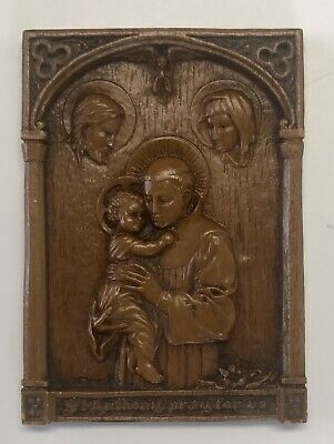 Vintage St. Saint Anthony Pray for Us Religious Plaque Carved Barwood Catholic