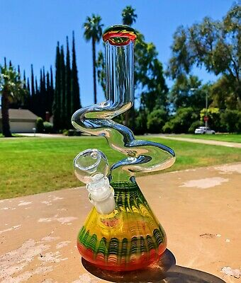 "10"" Glass Zong Red/Green/Yellow Hookah Water Pipe Tobacco Bong w/ Downstem"
