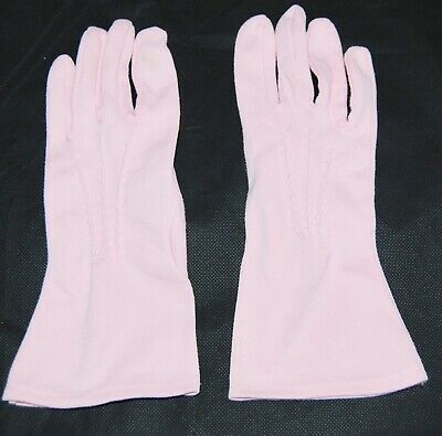Vintage Bubble Gum Pink Ladies Mid Length Gloves 7 Cotton Embroidered Center