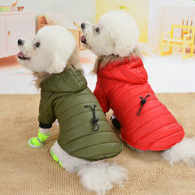 Pet Puppy Fur Collar Plush Coat Winter Padded Clothes Small Dog Hoodie Jacket