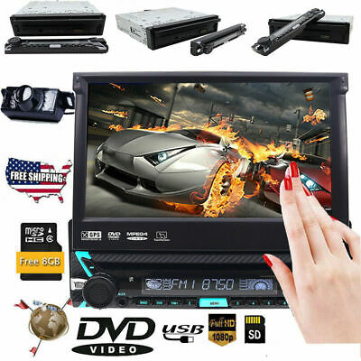 "Car Single 1DIN Stereo DVD Player 7"" Flip Up Bluetooth Touch Radio GPS Navi DAB+"