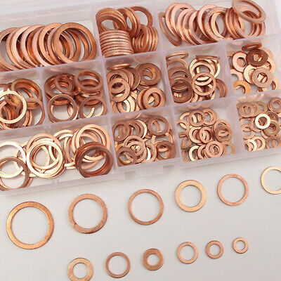 280pcs 12Sizes Copper Crush Washers Assorted Seal Flat Ring Hardware Accessory
