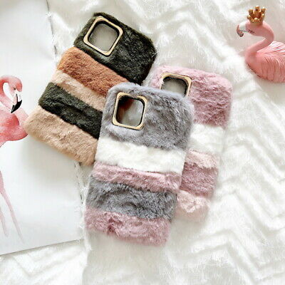 For iPhone 11 Pro Max XS XR XS 7 8 Plus 6 Christmas Winter Warm Furry Case Cover
