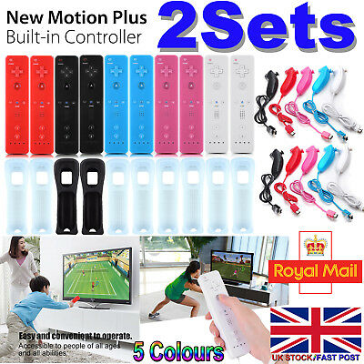 2Set REMOTE CONTROLLER and NUNCHUCK FOR NINTENDO WII & WII U +SILICONE + STRAP