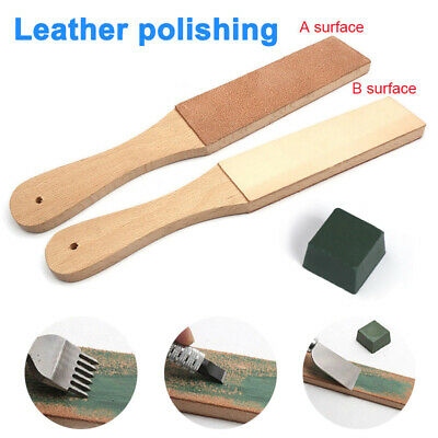 Wooden Dual Sided Leather Blade Strop Razor Sharpener Polishing Compounds Tools