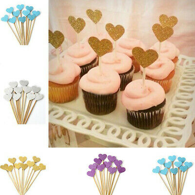 10Pcs Love Heart Birthday Cake Cupcake Toppers Baby Shower Wedding Party Decor