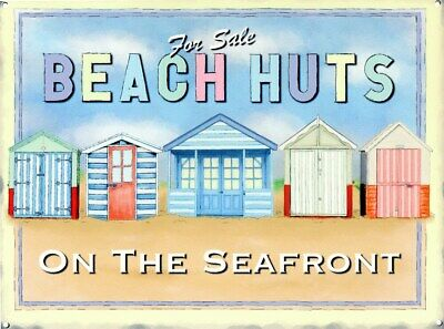 Tin Sign Beach Huts For Sale 40x30cm