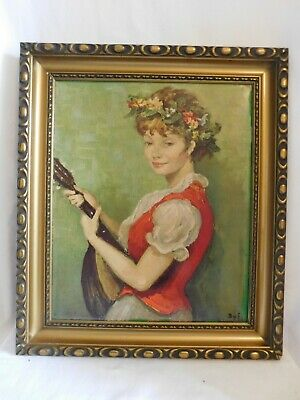 Marcel Dyf (1899-1985) Printed Canvas Young Girl with Mandolin Oléographie