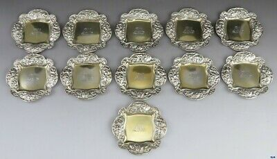 11 Antique 1891 Gorham Sterling Silver Gold Wash Small Candy or Nut Dishes