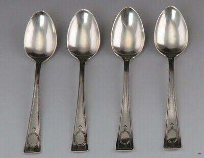 4 Antique Sterling Silver Wallace Carthage Pattern Demitasse Spoons