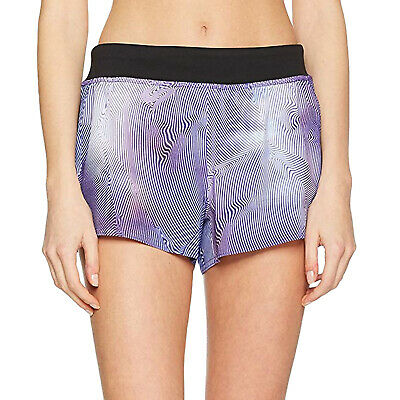 Reebok Womens 3 IN Woven Running Sports Gym Fitness Training Shorts Pants-Purple