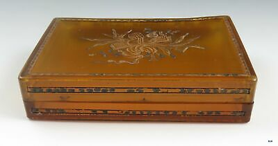 Antique 18th Century Engraved Horn and Brass Cigarette Box