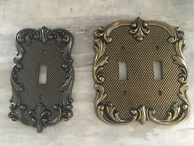 Pair of Brass National Lock Switch Plates Covers
