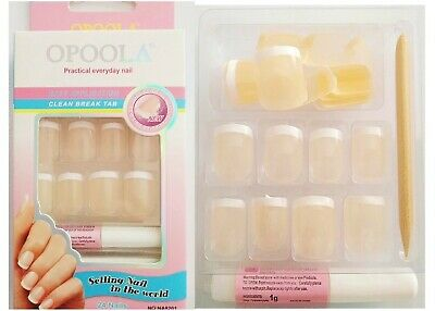 24 Faux Ongles French Manucure Couleur Orange Clair Effet Naturel Colle + Lime