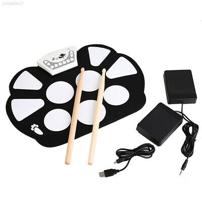 Electronic Roll Up Drum Pad Kit Silicone Foldable Musical Instrument Set Toy