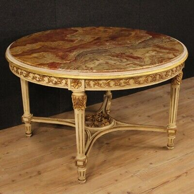 Dining Table round Antique Style Louis XVI Furniture in Wood with Level Marble