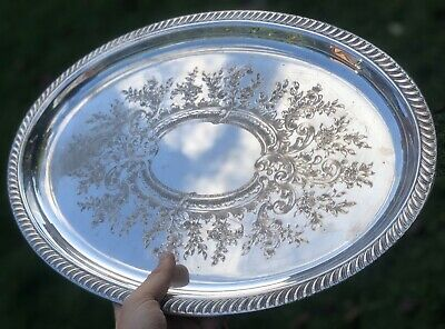 Viners Sheffield Silver Plate Plated Ornate Victorian Style Serving Dish Tray