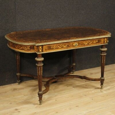 Table writing desk antique French furniture inlaid wood bronze living room 800