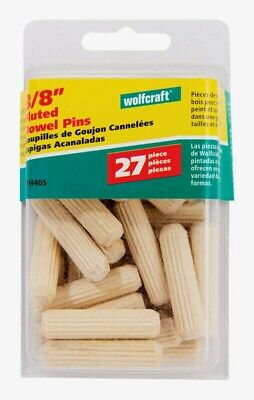"""Wolfcraft FLUTED DOWEL PINS 3/8"""" Natural 27 pc Accurate Furniture Repair 2914405"""
