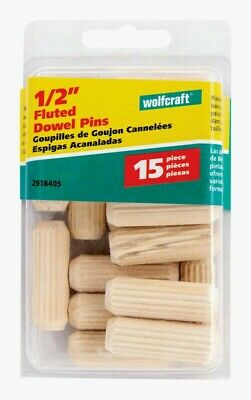 """Wolfcraft FLUTED DOWEL PINS 1/2"""" Natural 15 pc Accurate Furniture Repair 2918405"""