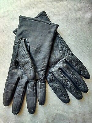 Ladies Dents Warm Leather Gloves Small Black Plain Style Lined