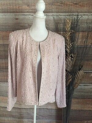 VTG NITE LITE size 16 PINK FLORAL BEADED PARTY EVENING JACKET