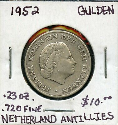 1952 Netherlands Antilles 1 Gulden .720 Silver Average Circulated Coin