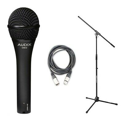 Audix OM2 Dynamic Hypercardioid  Microphone plus 20 FT XLR Cable and Stand