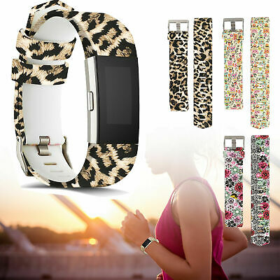 Pattern Replacement Fitbit Charge 2 Strap Wristband Band Leopard Print Flower