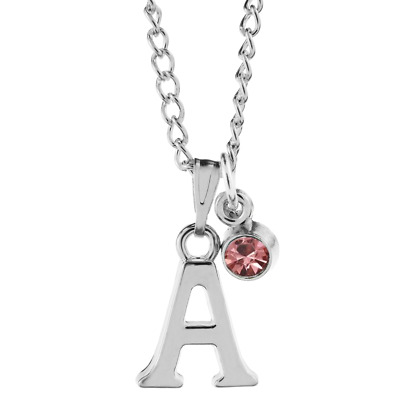 """Personalised Birthstone November Silver Plated Solid Heart Letter 18/"""" Necklace"""
