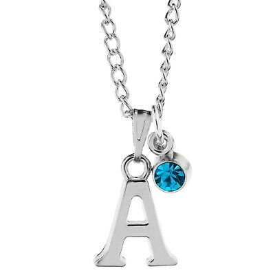 """Birthstone May Silver Plated Heart Letter 20/""""  Necklace Alphabet A to Z"""