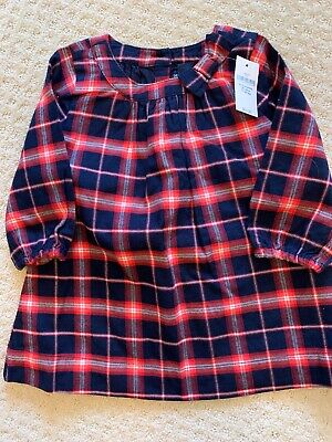 NWT Baby Gap Girls Navy And Red Plaid Dress Size 6-12 Months