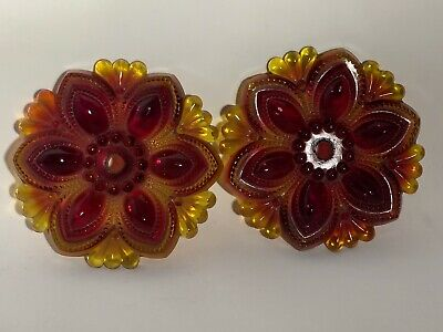 Amberina Pressed Glass Flower Drapery Curtain Tie Backs 1Pair