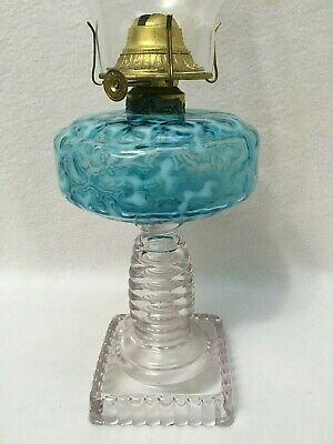 Antique Seaweed / Coral Blue Opal Stand Oil Lamp Square Base