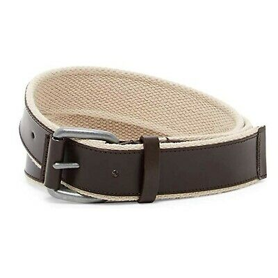Cole Haan Men's Leather and Webbing Fashion Belt Brown Size 40 New