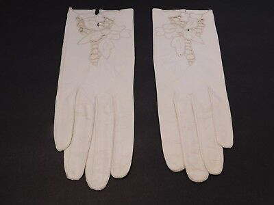 *Designer Ladies Cream Leather Dress Gloves With Cutouts Unlined Size 6.5