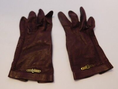 *Etienne Aigner Ladies Brown Leather Everyday Gloves Unlined Size 6.5