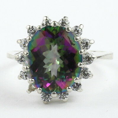 MYSTIC FIRE TOPAZ w/accents Sterling Silver Ladies Ring - Homemade • SR283