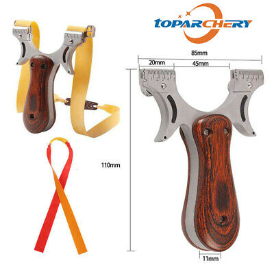 Hunting Slingshot Stainless steel + Wooden Catapult with Aim Point Rubber Bands