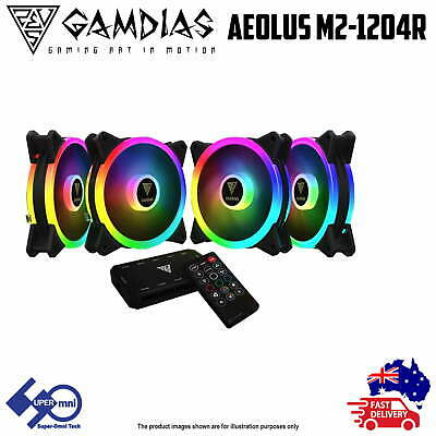 4 Pack ARGB Cooler Case 120mm Fan Gamdias AEOLUS M2-1204R with Remote Controller