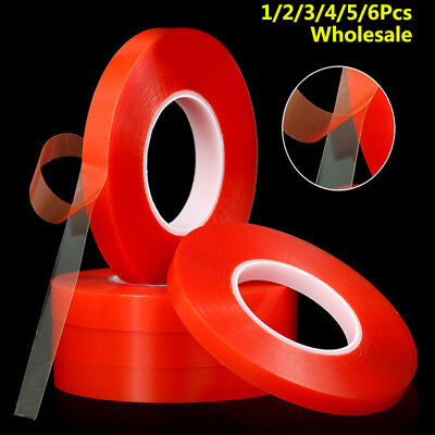 Double Sided Super Sticky Clear Tape Red Strong 50m Craft DIY Roll 2 3 5 8 10mm