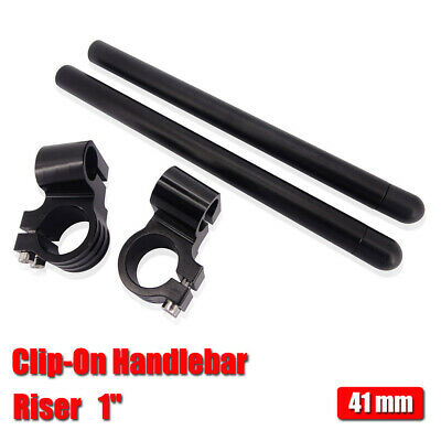 "CNC 41mm Riser 1"" Clipons Clip-On Handlebar Fit Forks Universal Motorcycle Black"