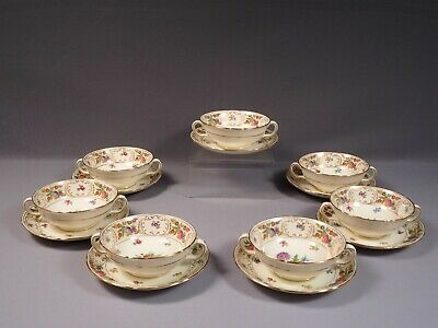 HAMMERSLEY DRESDEN SPRAYS Cream Soup Bouillon Cup Bowl Flowers Gold Bone China