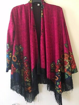 Vintage DAILIER PIANO SHAWL Jacket FRINGED retro Mid 20th C Flowers Pink