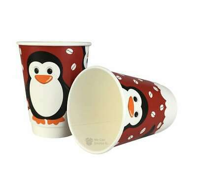 100 x 12oz Festive Christmas Penguin Paper Coffee Takeaway Cups - Recyclable