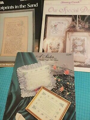 Lot Of 3 Cross Stitch Patterns, Verse, Wedding , Footprints In The Sand, Sisters