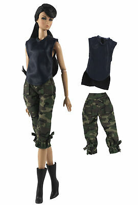 2 Pcs Camouflage Clothing Fashion Outfit Top+pants FOR 11 in. Doll Clothes