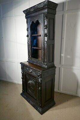 Early Victorian Carved Gothic Oak Bookcase, Green Man Game Cupboard
