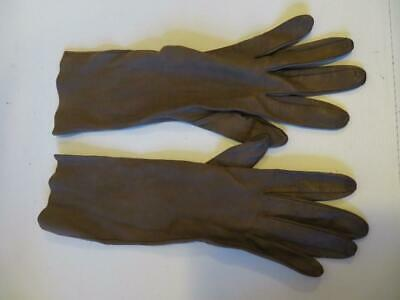 Womens Grandoe Brown Elbow Length Leather Gloves Sz 7.5 *